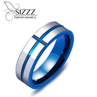 SIZZZ 2017 Fashion Individual tail ring tungsten steel jewelry tide male blue color cross ring for men