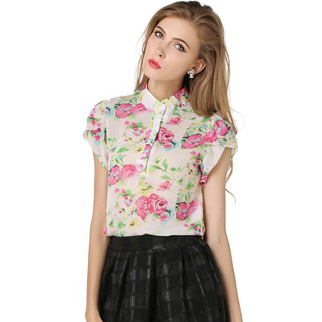 Summer Floral Print Chiffon Blouse 2017 New Women Casual Short