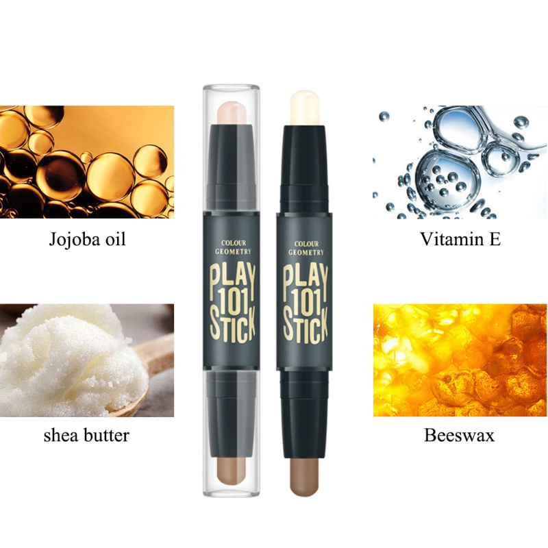 2019 Double-ended 2 in 1 Contour Stick Face Contouring Highlighter Pen Makeup Creamy Hide Blemish Bronzer Concealer Face Primer 6