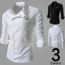 2017 Summer Clothing New Version Fashion Collar Stitching Men Casual Long Sleeved Shirt Brand Social Business