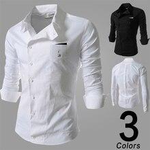 2017 Summer Clothing New Version Fashion Collar Stitching font b Men b font Casual Long Sleeved