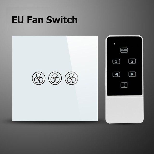 ЕС Стандартный Вентилятор Выключатель, Регулирование Скорости Переключатель, Стекло Панели, Пульт Дистанционного Управления Сенсорный Настенный Выключатель, Совместимый Broadlink RM2 PRO