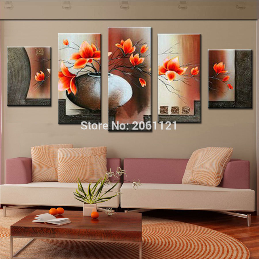 handmade large canvas art cheap modern abstract canvas wall art orange flower landscape oil. Black Bedroom Furniture Sets. Home Design Ideas