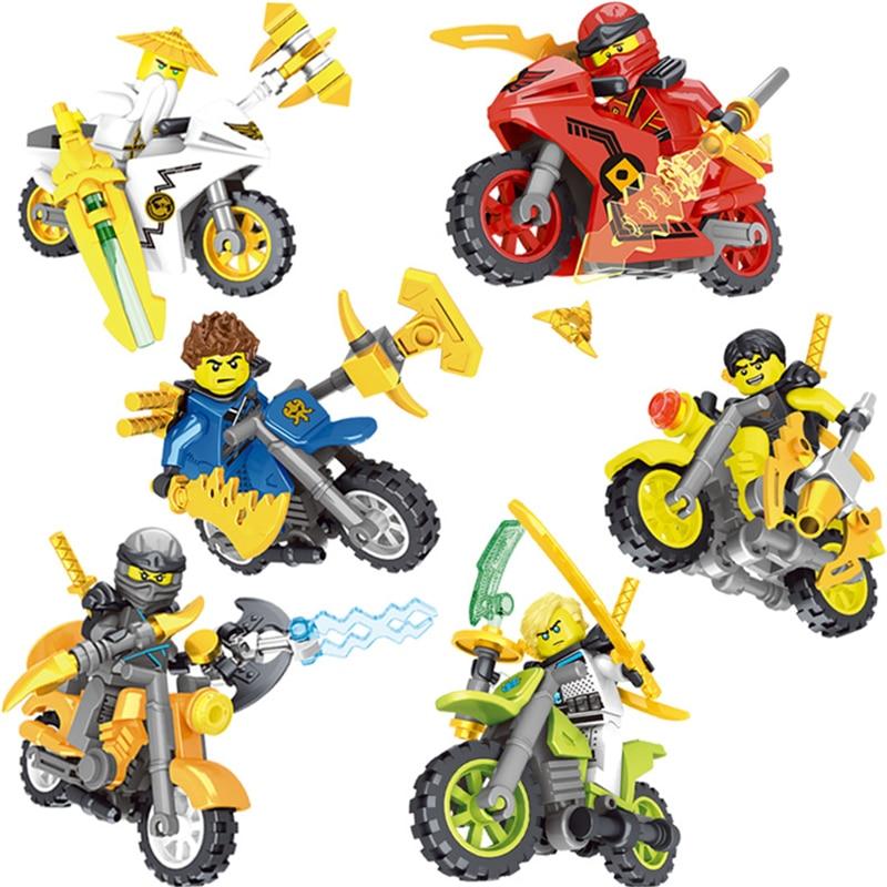 Hot Ninja Kai Jay Zane Cole Lloyd Carmadon Ninja Figuren Bausteine Mit Motorrad Kompatibel Mit GoINGlys Spielzeug JM202