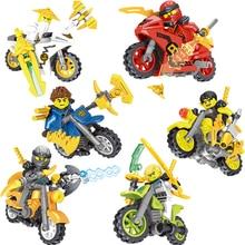 Hot Ninja Kai Jay Zane Cole Lloyd Carmadon figuren Bausteine Mit Motorrad Kompatibel goINGlys Spielzeug JM202