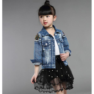 Image 4 - Baby Girls Denim Jackets For Boys Jackets And Coats Children Jacket Spring Autumn Rose Embroidery Jeans Coat Children Outerwear