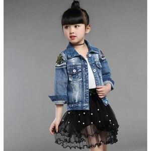 Image 4 - Dżinsowe kurtki dla dziewczynek dla chłopców kurtki i płaszcze kurtka dla dzieci wiosna jesień haft z różami dżinsy płaszcz dziecięca odzież wierzchnia