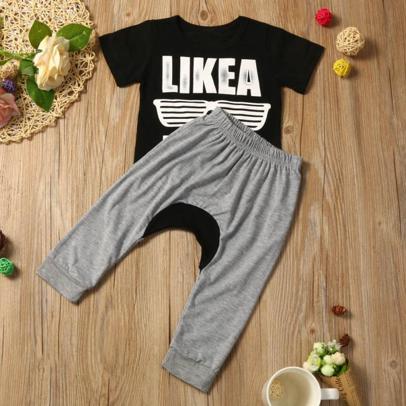 NewbornBoys Clothes Sets Casual Style Infant Cotton Suits Sports Letter Print T-shirt+Haren Long Pants Kids Children Suits