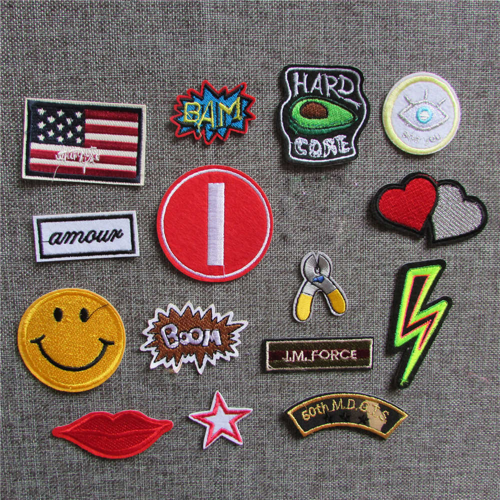 2016 year New Arrival cute cartoon patterns hot melt adhesive applique embroidery patches stripes DIY accessory C5059-C5076