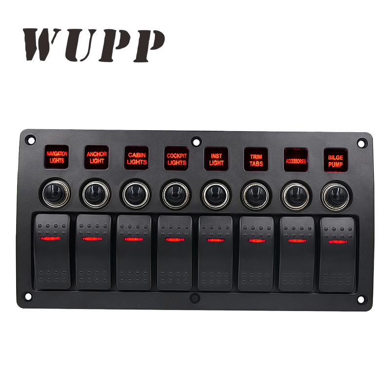 WUPP 8 Gang Switch Panel Car Styling Waterproof 12V Car Auto Boat Marine Red Led Rocker Switch Panel Circuit Breakers With Fuse 15a dc output car auto boat marine led ac dc rocker switch waterproof panel dual power control overload protection