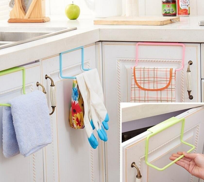 1Pc Over Door Tea Towel Holder Rack Rail Cupboard Hanger Bar Hook Bathroom Kitchen Top Home Organization Candy Colors Hot Sale