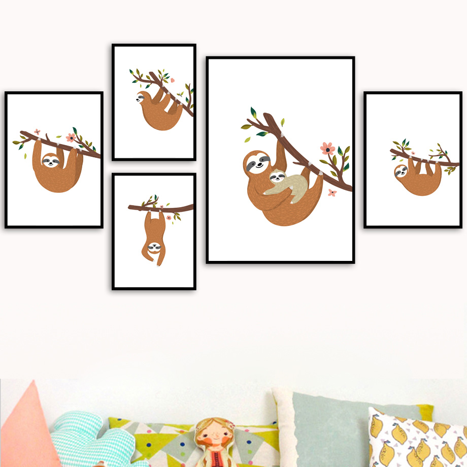 Cartoon Sloth Flower Branch Wall Art Canvas Painting Nordic Posters And Prints Nursery Wall Pictures For Kids Baby Room Decor-in Painting & Calligraphy from Home & Garden