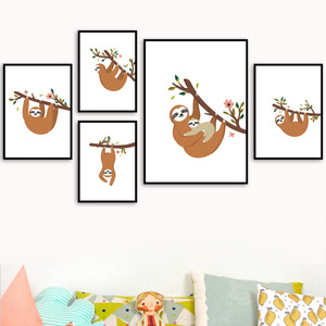 Image 1 - Cartoon lenistwo kwiat oddział obraz ścienny na płótnie Nordic plakaty i druki przedszkole zdjęcia ścienny dla dzieci wystrój pokoju dziecięcego
