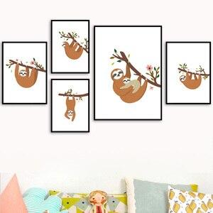 Image 1 - Desenhos animados sloth ramo flor arte da parede pintura da lona nordic cartazes e cópias do berçário fotos de parede para crianças decoração do quarto bebê