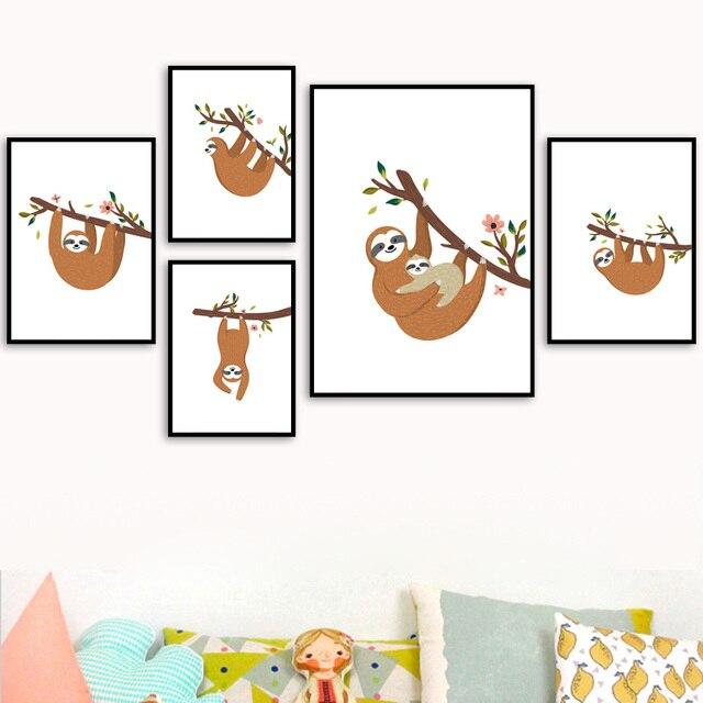 Desenhos animados sloth ramo flor arte da parede pintura da lona nordic cartazes e cópias do berçário fotos de parede para crianças decoração do quarto bebê