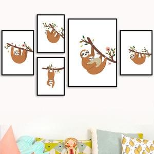 Image 1 - Dessin animé paresseux fleur branche mur Art toile peinture nordique affiches et impressions pépinière mur photos pour enfants bébé chambre décor