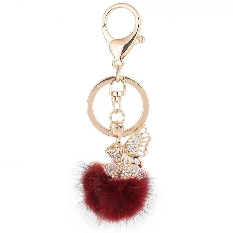 Cristal strass alliage porte-clés pour femmes sac à main bibelot ange en peluche porte-clés voiture porte-clés Chaveiro