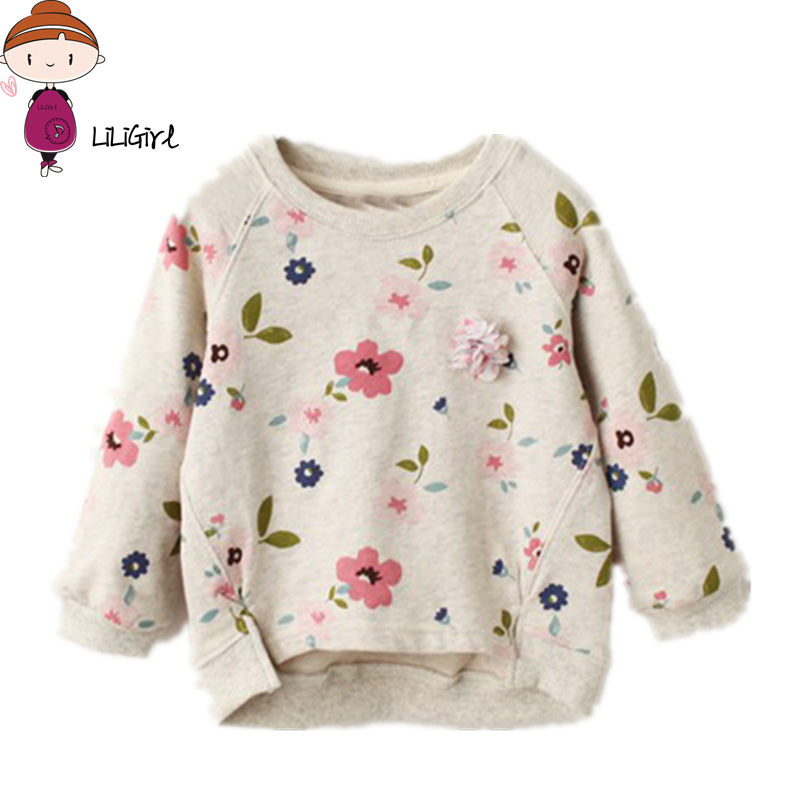LILIGIRL Spring Autumn Childrens Clothes Floral Long Sleeve Thin Cotton Baby Girls Pullovers T-shirts Gor Girls Kids Tshirt Top
