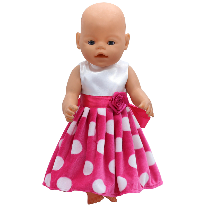 Baby Born Doll Clothes White Dot Red Dress Fit 43cm Zapf Baby Born Doll Accessories Birthday Gift X-124 baby born doll clothes bat patch skirt dress fit 43cm baby born zapf or 17inch baby born doll accessories high quality love 183