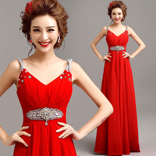z 2019 new arrival stock maternity plus size bridal gown   evening     dress   Red Gem Long Backless Cheongsam Wholesale 10007