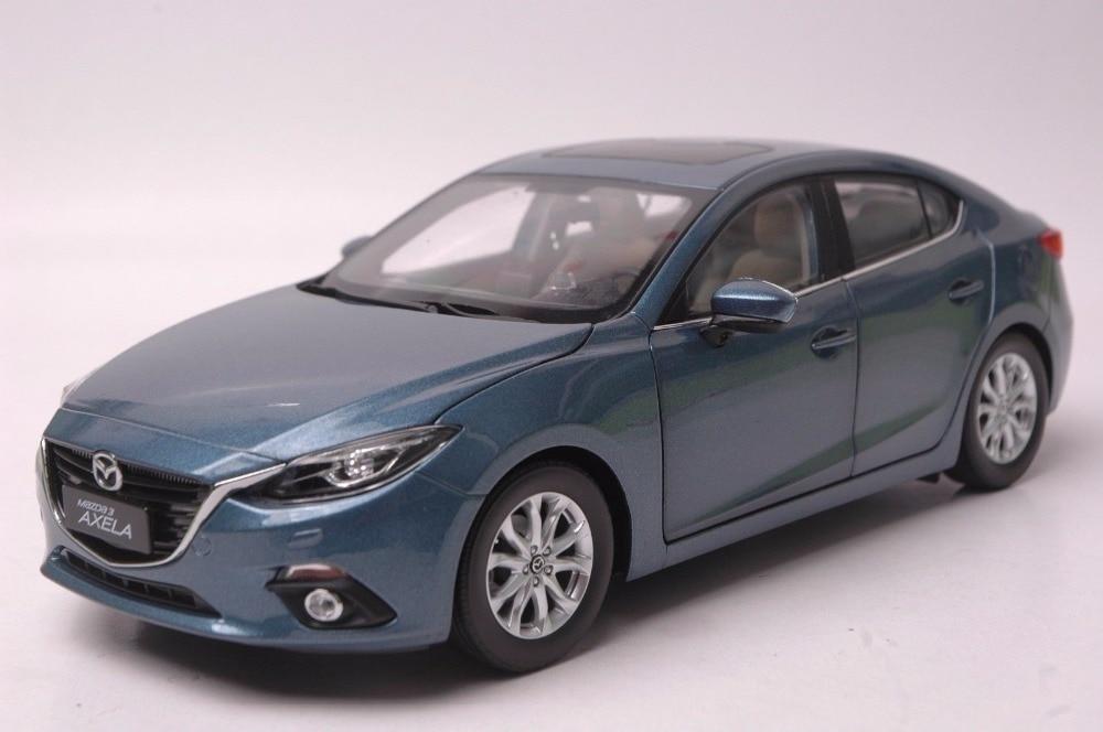 1:18 Diecast Model For Mazda 3 Axela 2014 Blue Sedan Alloy Toy Car Miniature Collection Gift