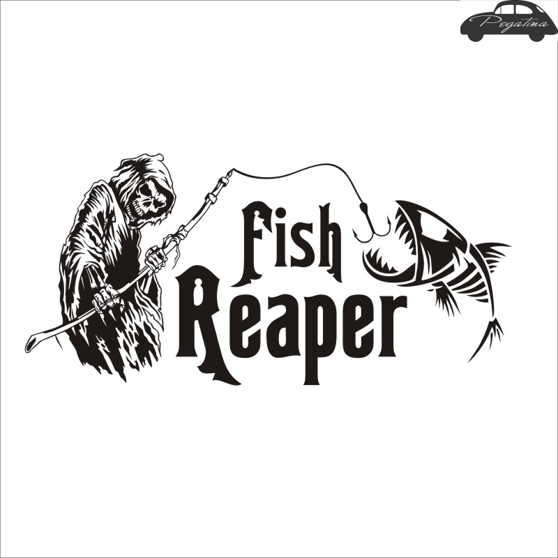 Fishing Sticker Skull Fish Reaper Decal Angling Hooks Tackle Shop Posters Vinyl Wall Decals Hunter Decor Mural Sticker