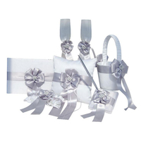 4pcs/set(Guest book+Flower Basket+Pen Holder+Ring Pillow) Silver and White Bow Pearls Decor Wedding Celebration Sets