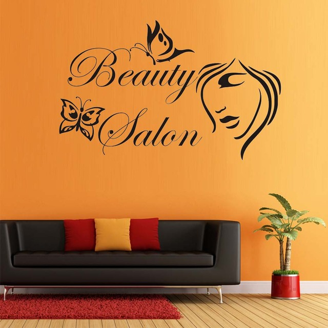 Butterflies Beauty Salon Wall Sticker Ladys Face Self Adhesive - Vinyl wall decal adhesive