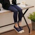 2016 Primavera 4-10Y Crianças Meninas Skinny Jeans Stretch Calças de Caxemira Do Bebê Magro Elastic Leggings Falso Denim Jegging Azul Preto