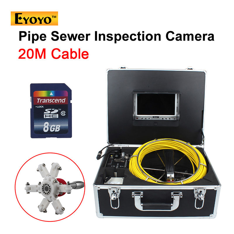 Eyoyo 20M Sewer Waterproof Video Camera 7 LCD Screen Drain Pipe Inspection DVR 12 Led Free shipping eyoyo 7 lcd screen 20m 800 480 1000tvl 4500mah sewer drain camera pipe wall inspection endoscope w keyboard dvr recording 8gb