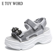 E TOY WORD Women Sandals 2019 New Summer Fashion 6cm Thick sole ladies Shoes Casual Open toe Platform Rhinestone women