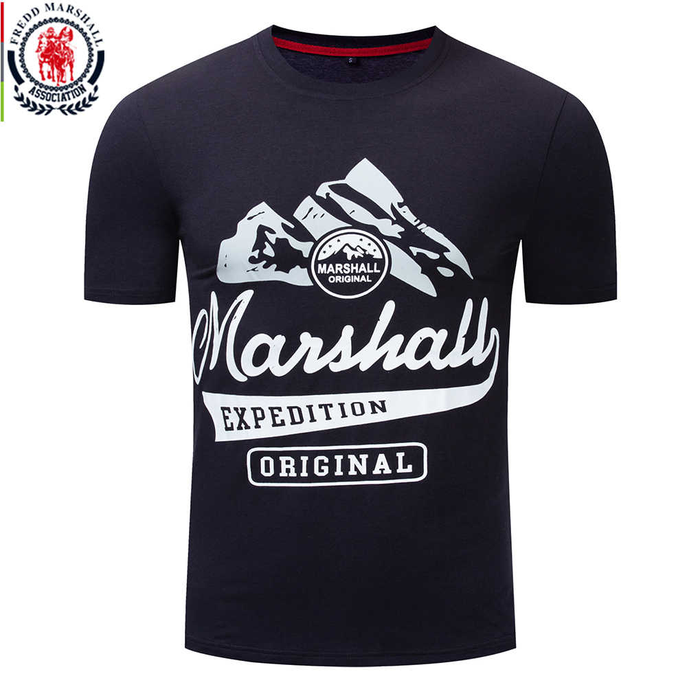 Fredd Marshall 2019 Summer New Fashion 100% Cotton T-shirt Snow Mountain Print T Shirt Men O-neck Tee Shirt Homme Plus Size 339
