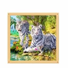 Tiger Family DIY 5D Diamond Embroidery Cross Stitch Craft Painting Home Decor 30cm*30cm #K400Y#