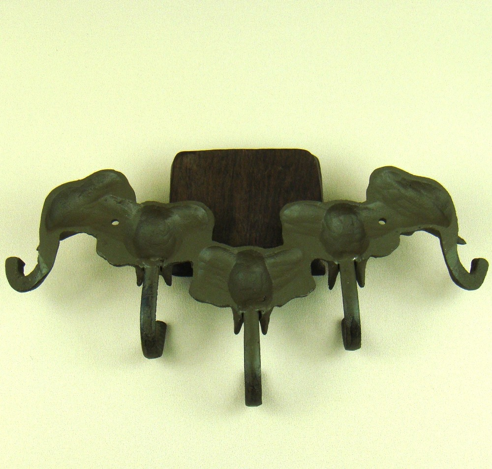 Unique Cast Iron Elephant Clothes Hook Wall Mounted Metal Hat Hanger ...