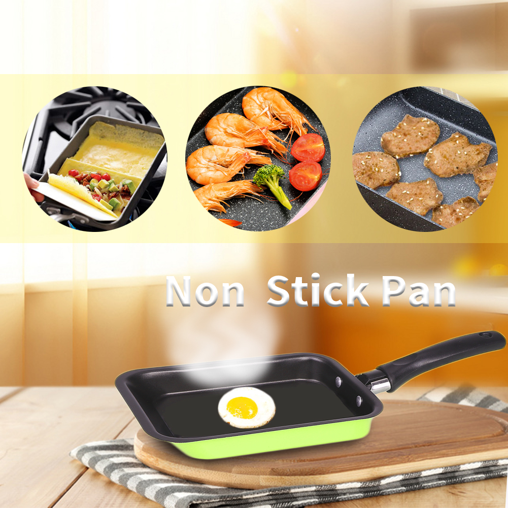1 Set Portable <font><b>Frying</b></font> With Spatula Rectangle Mini Steel <font><b>Pans</b></font> Kitchen Cookware