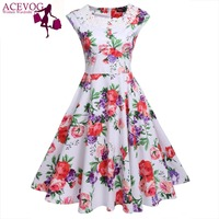 ACEVOG Brand Vintage Women Dress Lady Summer Lace Patchwork Rockabilly 1950s Midi Swing Casual Dresses Hot