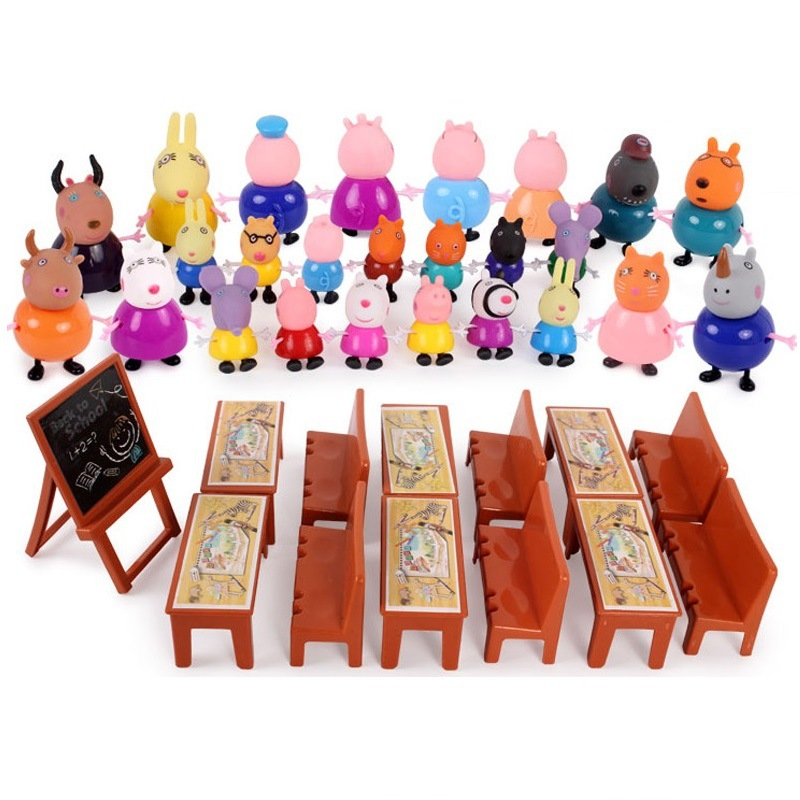 Peppa Pig George Family Friend Pack Dad Mom Action Figure Original Pelucia Anime Toys Boy Girl Gift