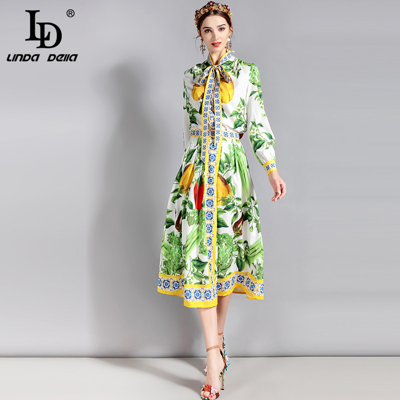 LD LINDA DELLA Fashion Runway Suit Set Womens Long sleeve Bow Collar Floral vegetables Print Blouse and Casual Skirts Set ...