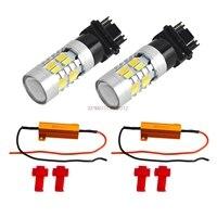 3157 Blanc Orange Dual Color Switchback LED Clignotants Ampoules + Résistances