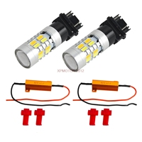 3157 White Amber Dual Color Switchback LED Turn Signal Light Bulbs+Resistors