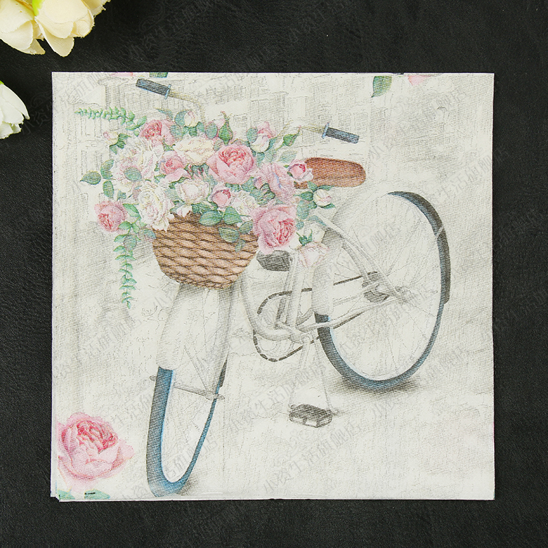 New Vintage Bicycle Flowers Paper Napkins Cafe&Party Tissue Napkins Decoupage Decoration Paper 33cm*33cm 20pcs/pack/lot ...
