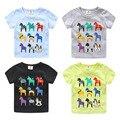 2016 Verão Crianças do Sexo Masculino Criança Roupas Menino Meninas O-pescoço Curto-Luva T-Shirt Do Cavalo