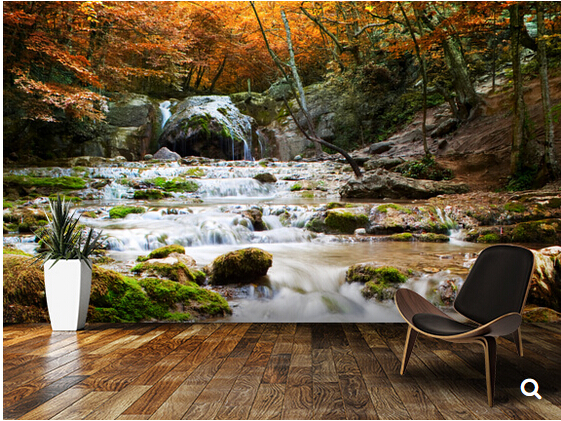 Custom natural landscape wallpaper,Natural Autumn Waterfall,3D modern photo for living room bedroom kitchen waterproof wallpaper natural landscape waterfall print waterproof shower curtain