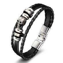 Hasion Men's Leather Skull Bracelets Rock Punk Alloy Skeleton Charms Cuff Bracelet Bangles Casual Jewelry