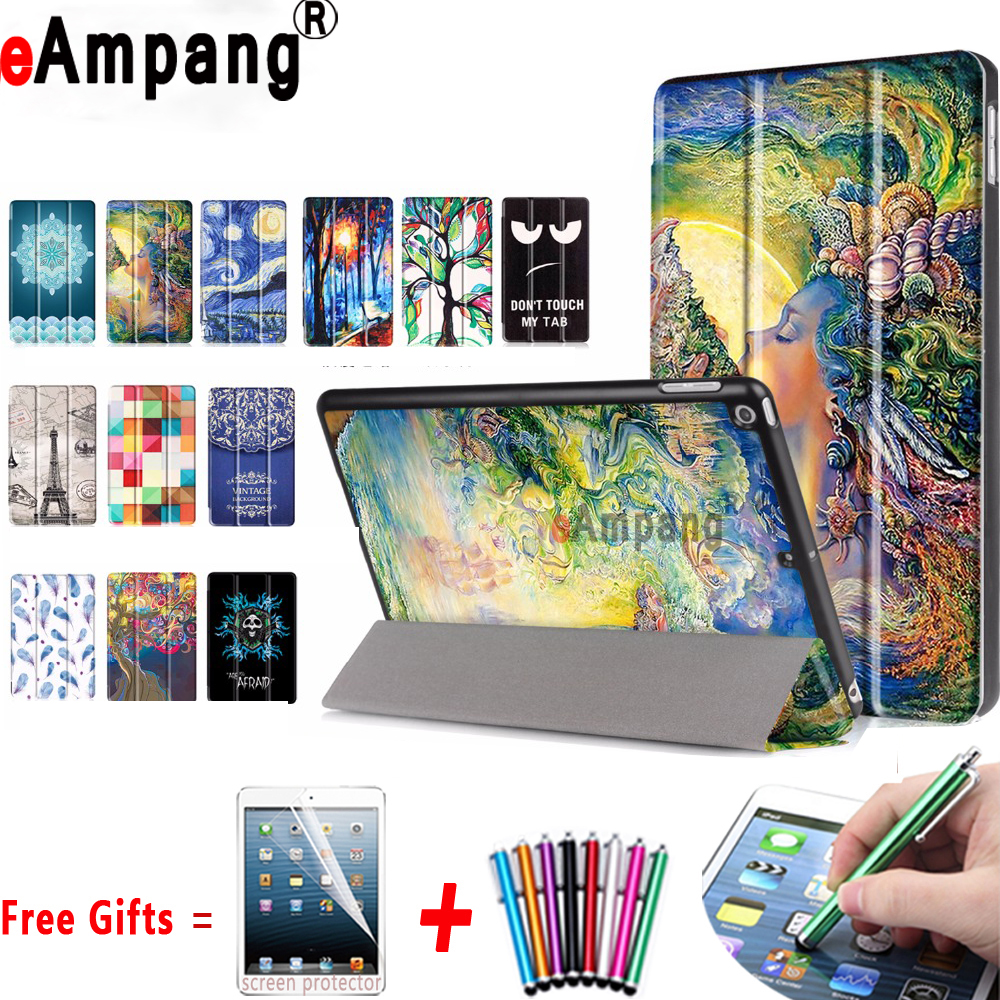 Premium PU Leather Cover for Apple New iPad 9.7 2017 Case Magnetic Smart Slim Painting Cover For Apple New  iPad 9.7 2017 Case nice soft silicone back magnetic smart pu leather case for apple 2017 ipad air 1 cover new slim thin flip tpu protective case