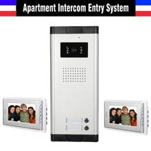 New apartment intercom system Video interphone system Video doorbell 2 Units apartment video door phone intercom kit 2-monitor