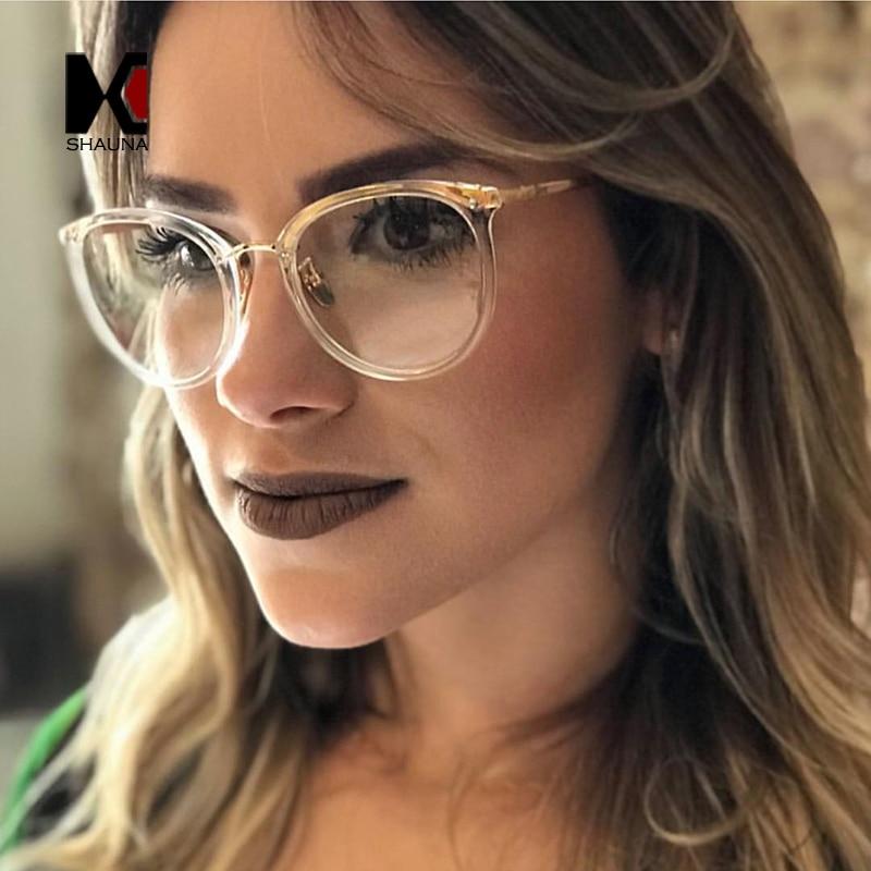 SHAUNA Fashion Women Round Glasses Frame Metal Legs Clear Lens Eyewear