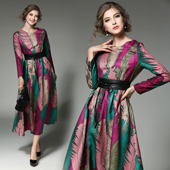 Spring Vintage Print Runway Women Party Dresses