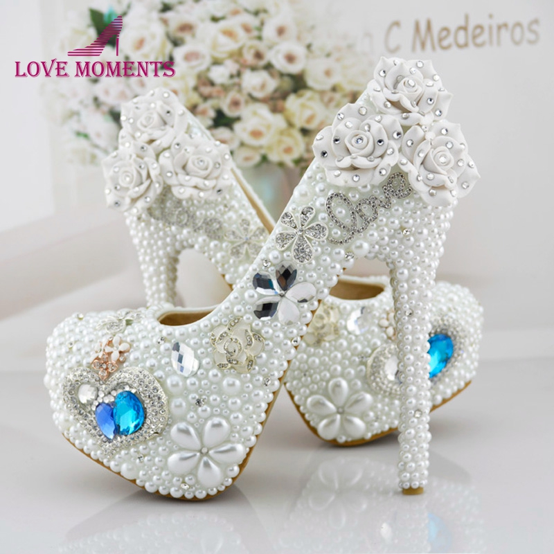 Heart of Ocean Handmade Wedding Shoes Noble White Pearl High Heel Platforms Bride Shoes Rhinestone Function Party Prom Pumps pure white pearl wedding dress shoes gorgeous red rhinestone heart shape women pumps 3 inches high heel bride shoes event pumps