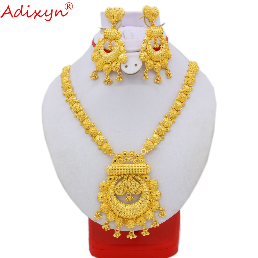 Adixyn Long Size Neckalce Earrings Jewelry For Women Gold Color Brass African/Ethiopian/India/Middle East Traditional Day N09274 adixyn dubai gold bangles fashion jewelry for women men gold color bangles bracelets african india middle east items free box